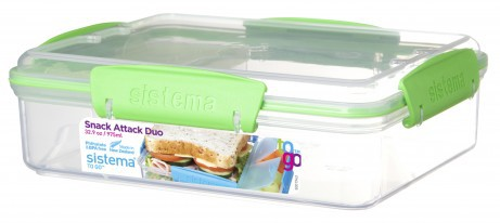 sistema snack attack duo to go gr n lunchboxen mit. Black Bedroom Furniture Sets. Home Design Ideas