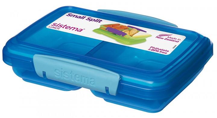 sistema small split lunch blau lunchboxen mit unterteilung lunchboxen beh lter. Black Bedroom Furniture Sets. Home Design Ideas